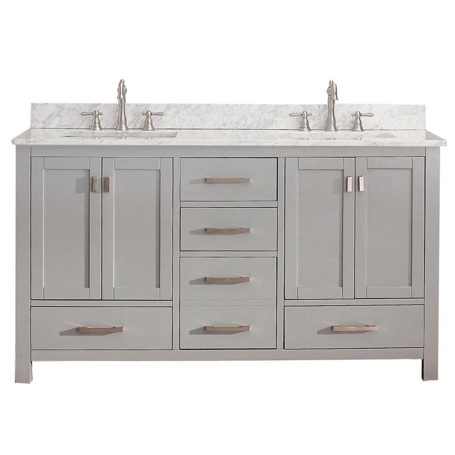 Shop avanity modero chilled gray undermount double sink bathroom vanity with natural marble top Marble top bathroom vanities