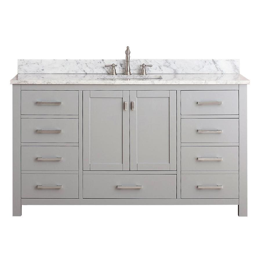 Avanity Modero Chilled Gray 61-in Undermount Single Sink Poplar Bathroom Vanity with Natural Marble Top