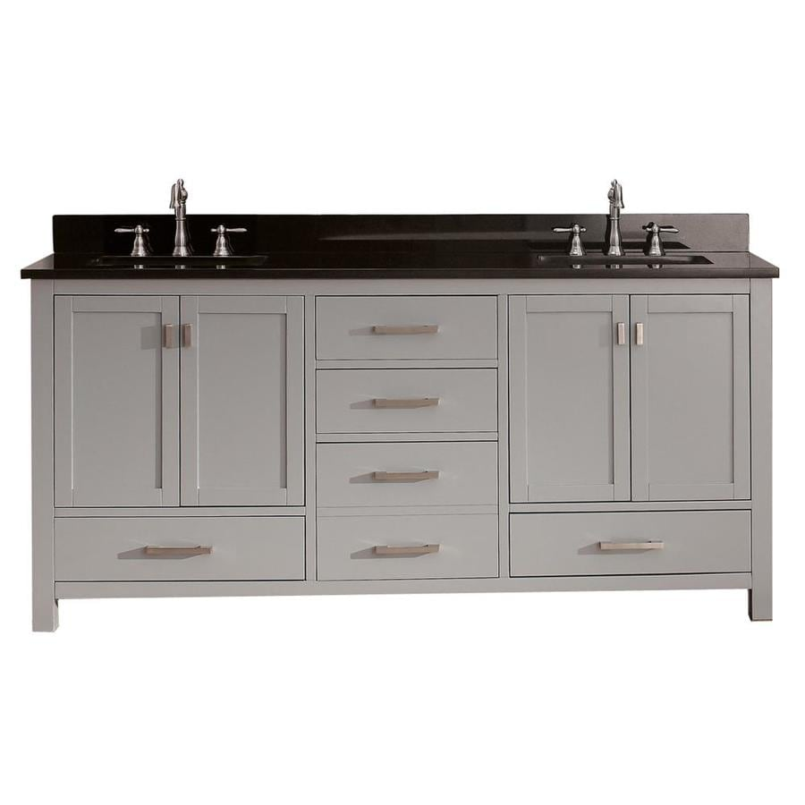 Shop avanity modero chilled gray undermount double sink bathroom vanity with granite top common - Double bathroom vanities granite tops ...