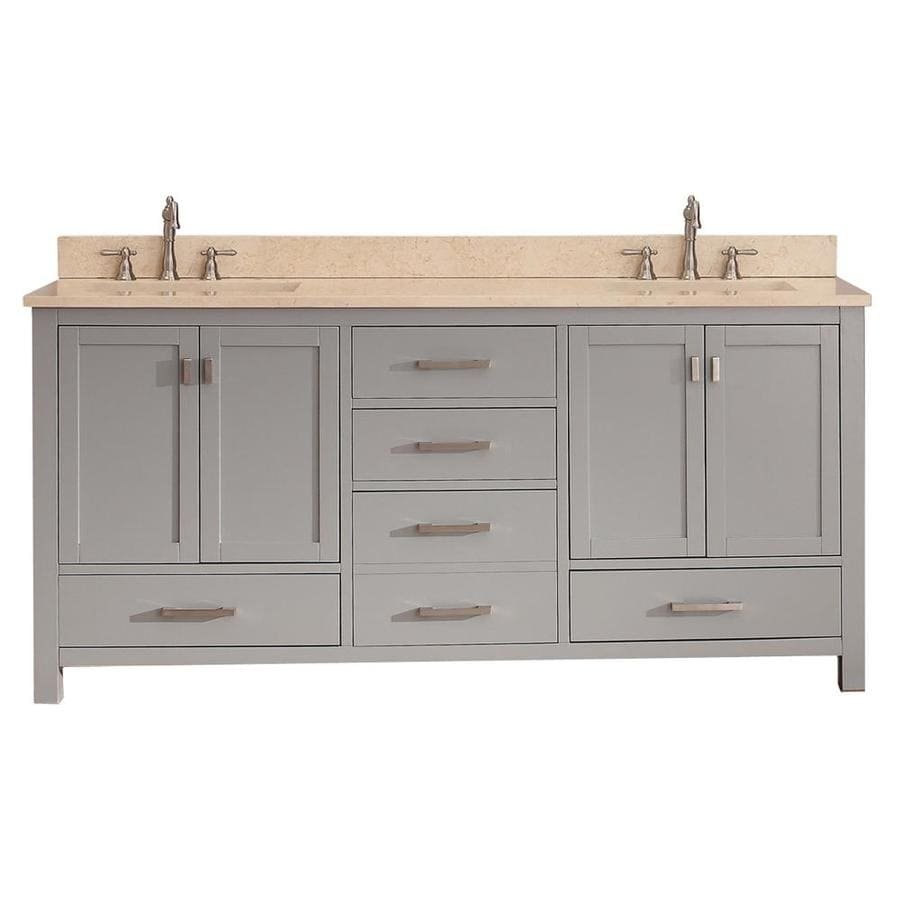 Avanity Modero Chilled Gray (Common: 73-in x 22-in) Undermount Double Sink Poplar Bathroom Vanity with Natural Marble Top (Actual: 73-in x 22-in)