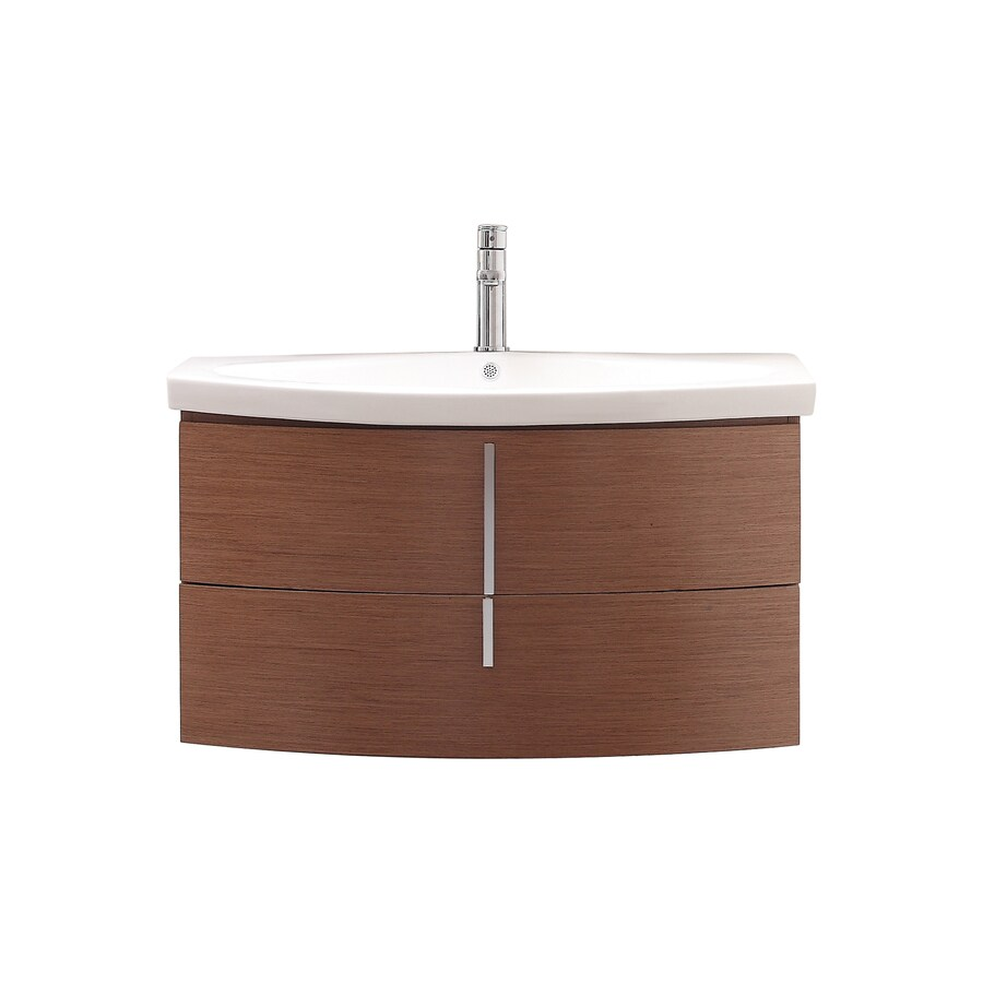 Avanity Siena Chestnut 35.8-in Integral Single Sink Asian Hardwood Bathroom Vanity with Vitreous China Top