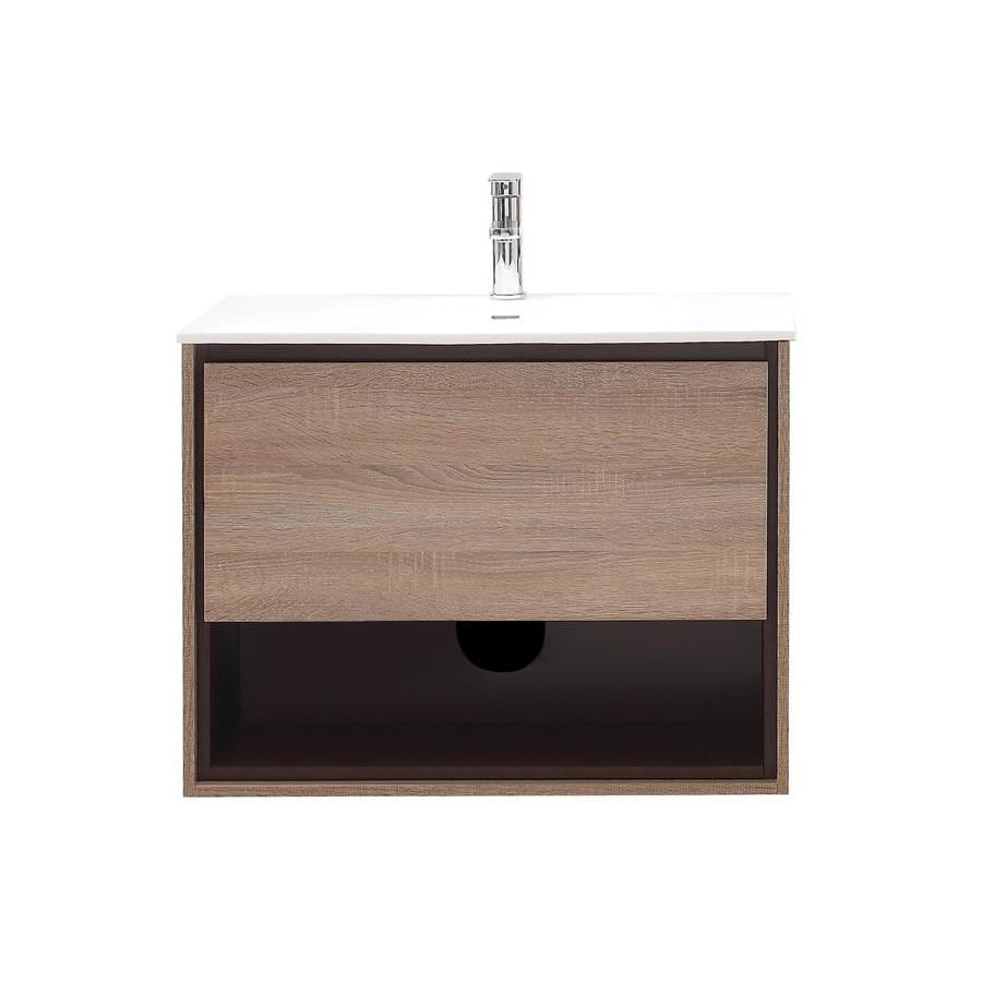 Avanity Sonoma Restored Khaki 31.5-in Integral Single Sink Asian Hardwood Bathroom Vanity with Solid Surface Top