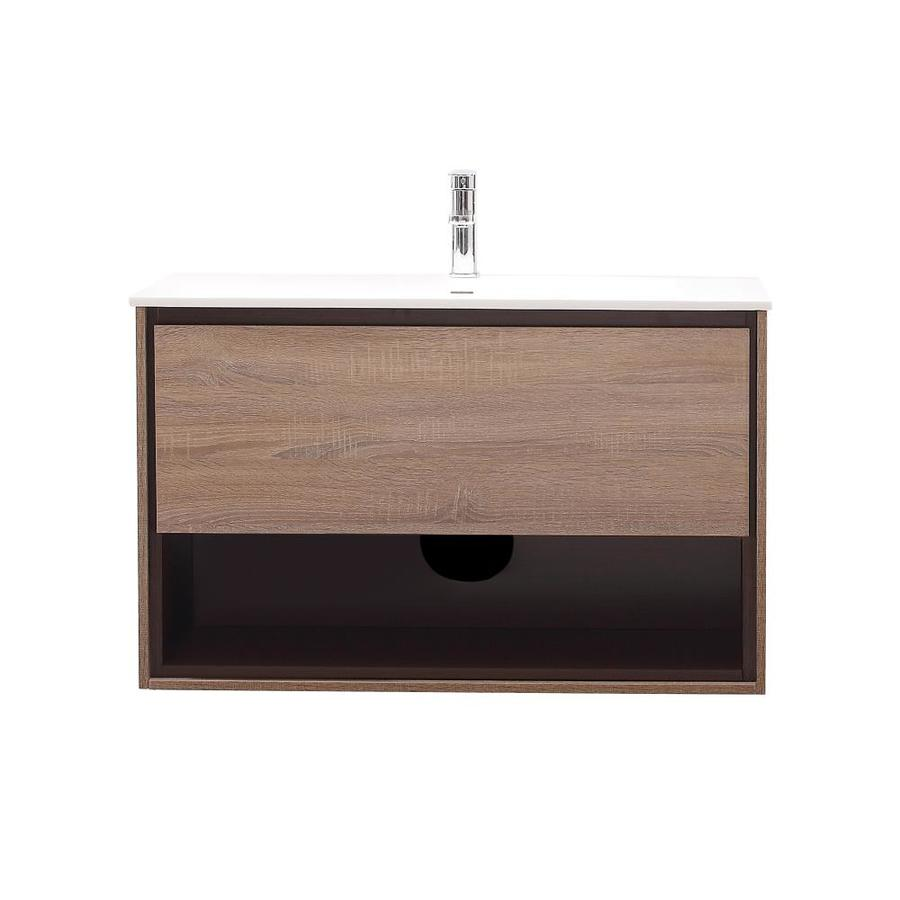 Avanity Sonoma Restored Khaki Integrated Single Sink Bathroom Vanity with Solid Surface Top (Common: 40-in x 20.5-in; Actual: 39.4-in x 20.5-in)