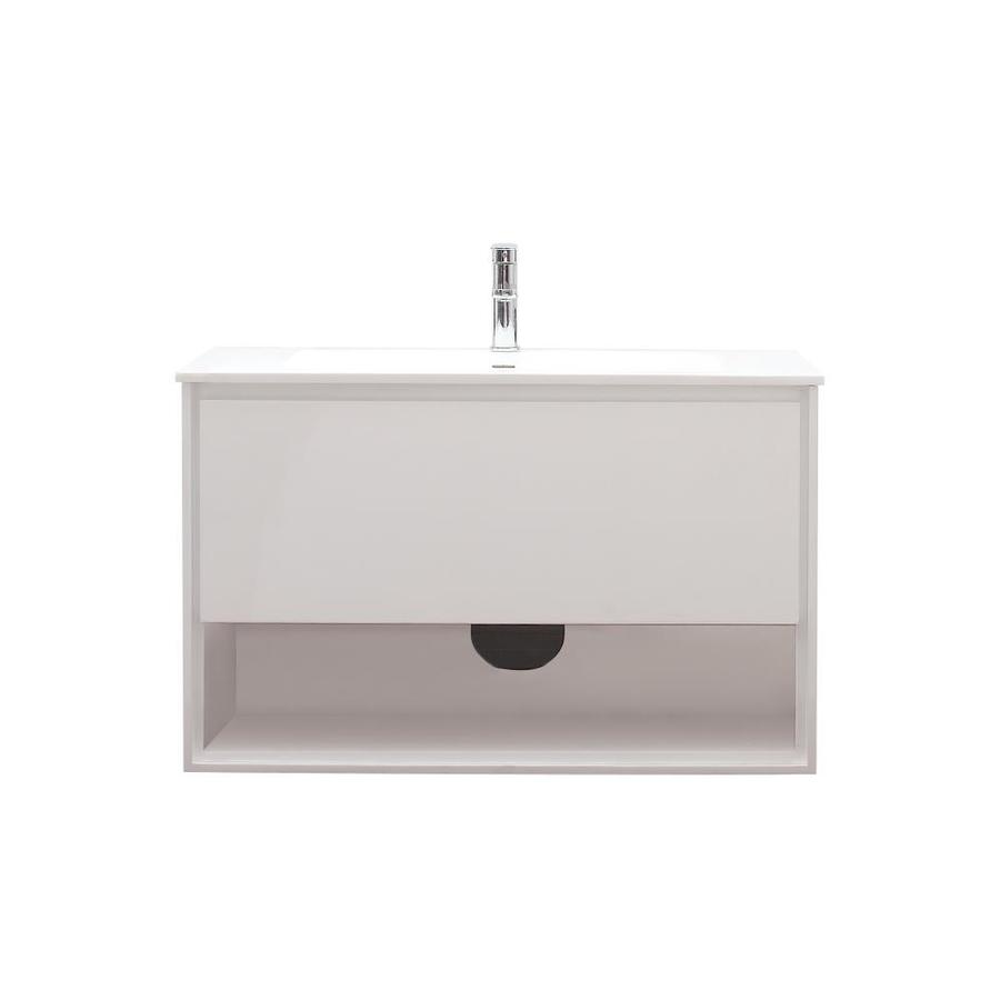 Avanity Sonoma White 39.4-in Integral Single Sink Asian Hardwood Bathroom Vanity with Solid Surface Top