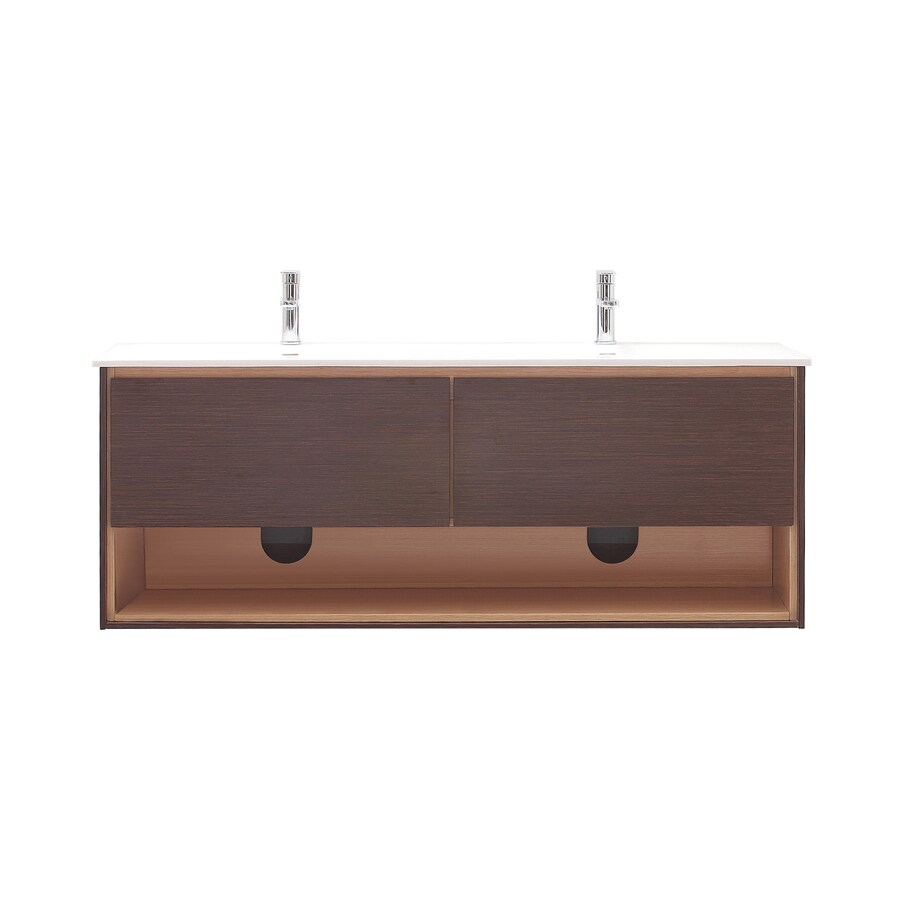 Avanity Sonoma Iron Wood 63-in Integral Double Sink Asian Hardwood Bathroom Vanity with Solid Surface Top