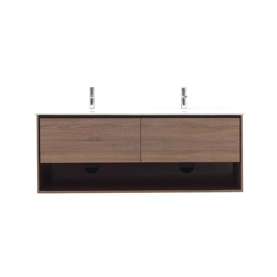 Avanity Sonoma Restored Khaki 63-in Integral Double Sink Asian Hardwood Bathroom Vanity with Solid Surface Top