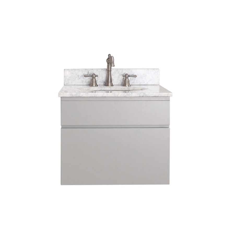 Avanity Tribeca Chilled Gray 25-in Undermount Single Sink Poplar Bathroom Vanity with Natural Marble Top