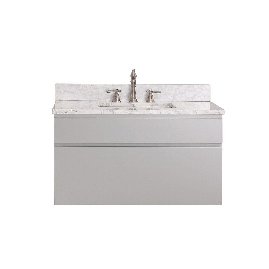 Avanity Tribeca Chilled Gray (Common: 37-in x 22-in) Undermount Single Sink Poplar Bathroom Vanity with Natural Marble Top (Actual: 37-in x 22-in)