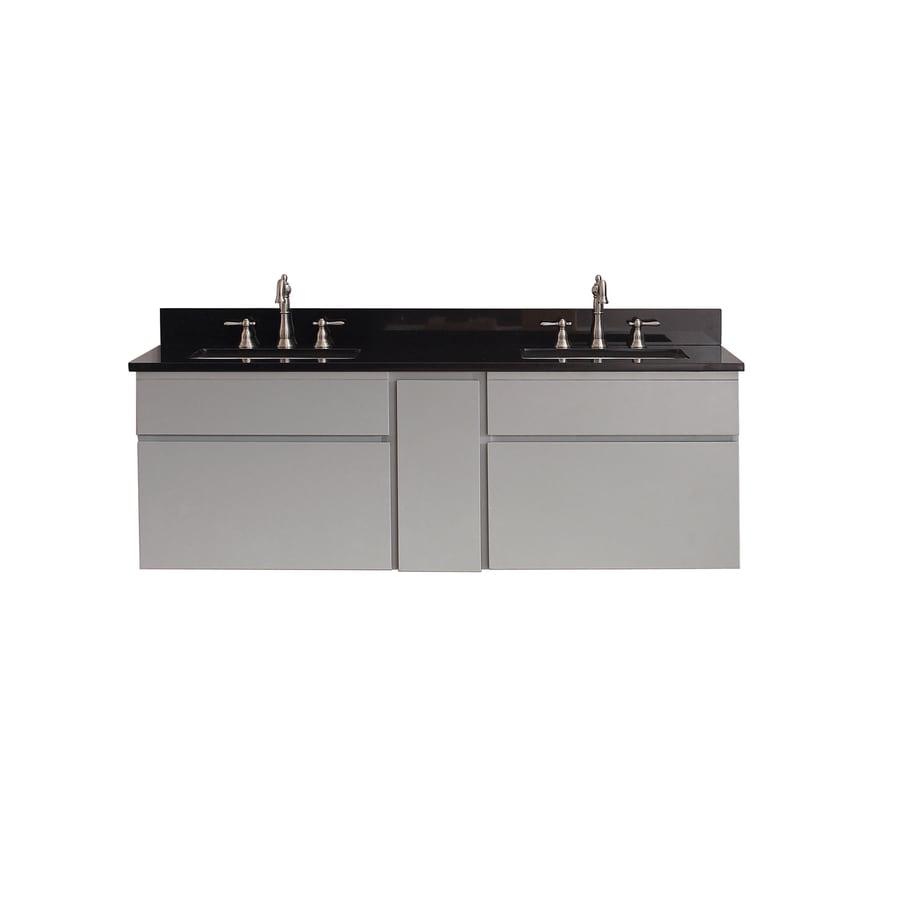 Avanity Tribeca Chilled Gray 61-in Undermount Double Sink Poplar Bathroom Vanity with Granite Top