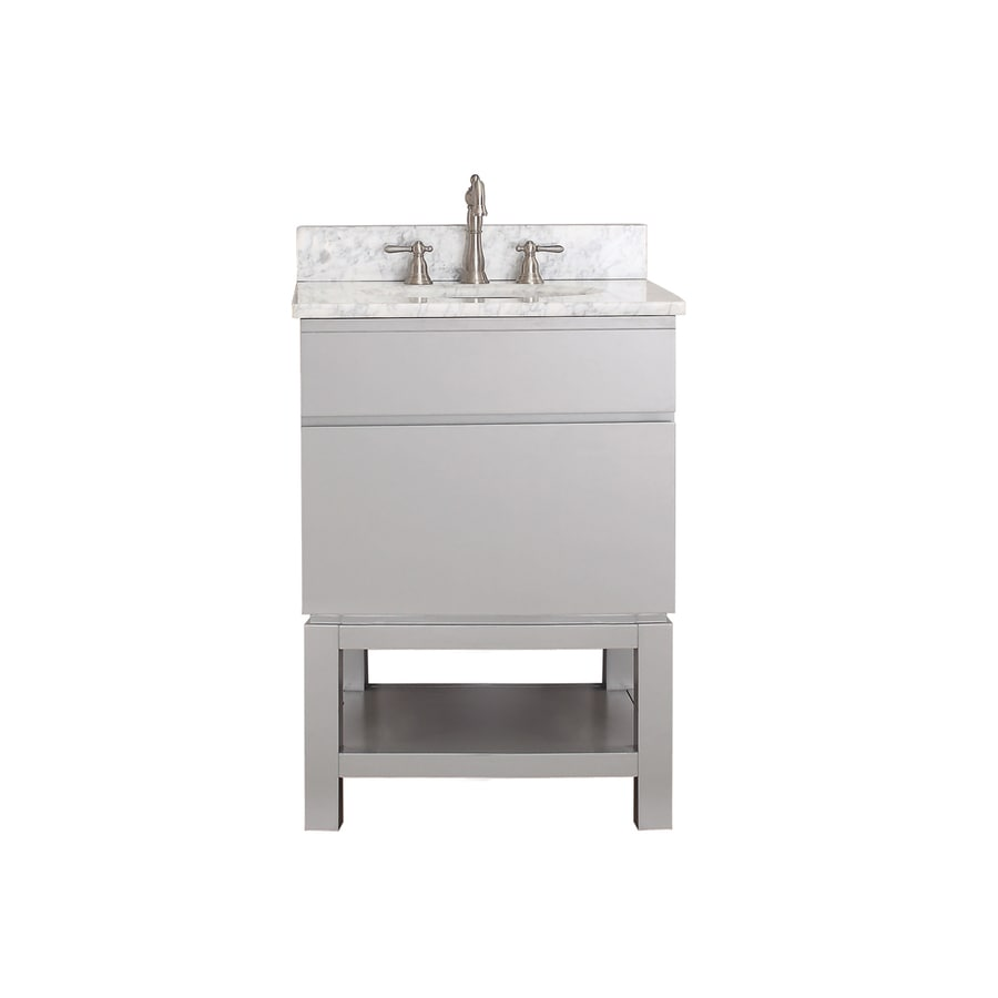 Avanity Tribeca Chilled Gray (Common: 25-in x 22-in) Undermount Single Sink Poplar Bathroom Vanity with Natural Marble Top (Actual: 25-in x 22-in)