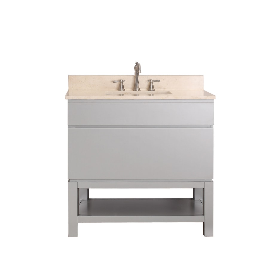 Avanity Tribeca Chilled Gray 37-in Undermount Single Sink Poplar Bathroom Vanity with Natural Marble Top