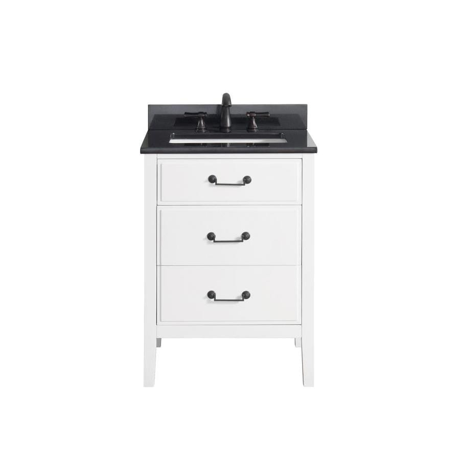 Shop Avanity Delano White Vanity With Black Granite Top Common 25 In X 22 In At