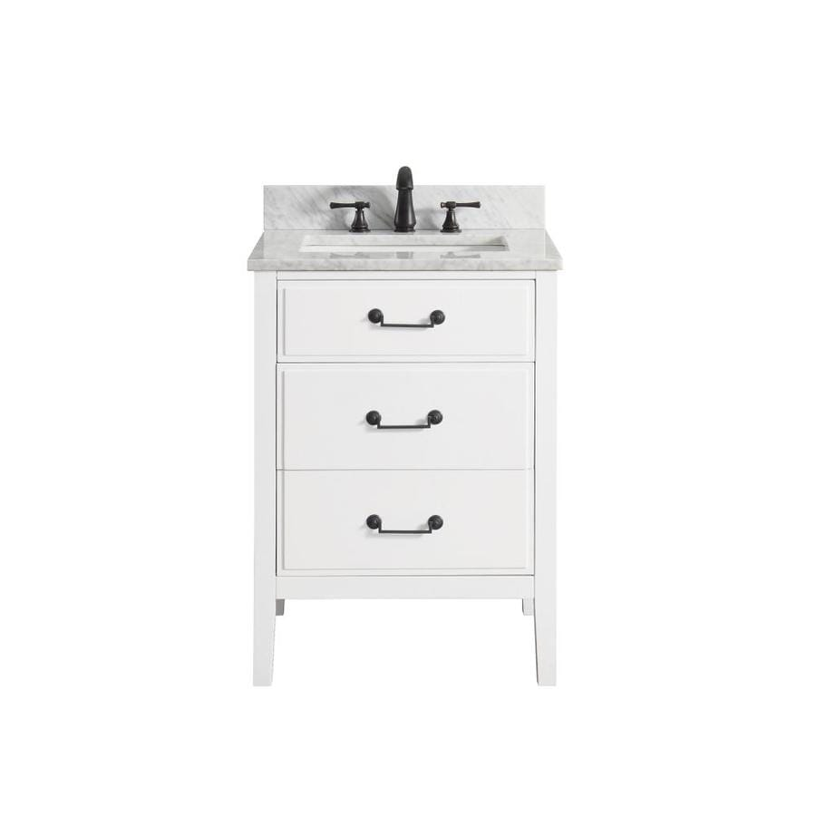 Avanity Delano White Undermount Single Sink Bathroom Vanity with Natural Marble Top (Common: 25-in x 22-in; Actual: 25-in x 22-in)