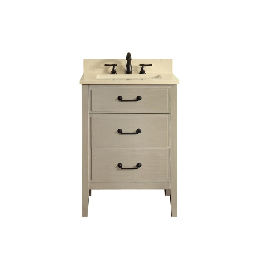 Avanity Delano Taupe Glaze Undermount Single Sink Bathroom Vanity with Natural Marble Top (Common: 25-in x 22-in; Actual: 25-in x 22-in)