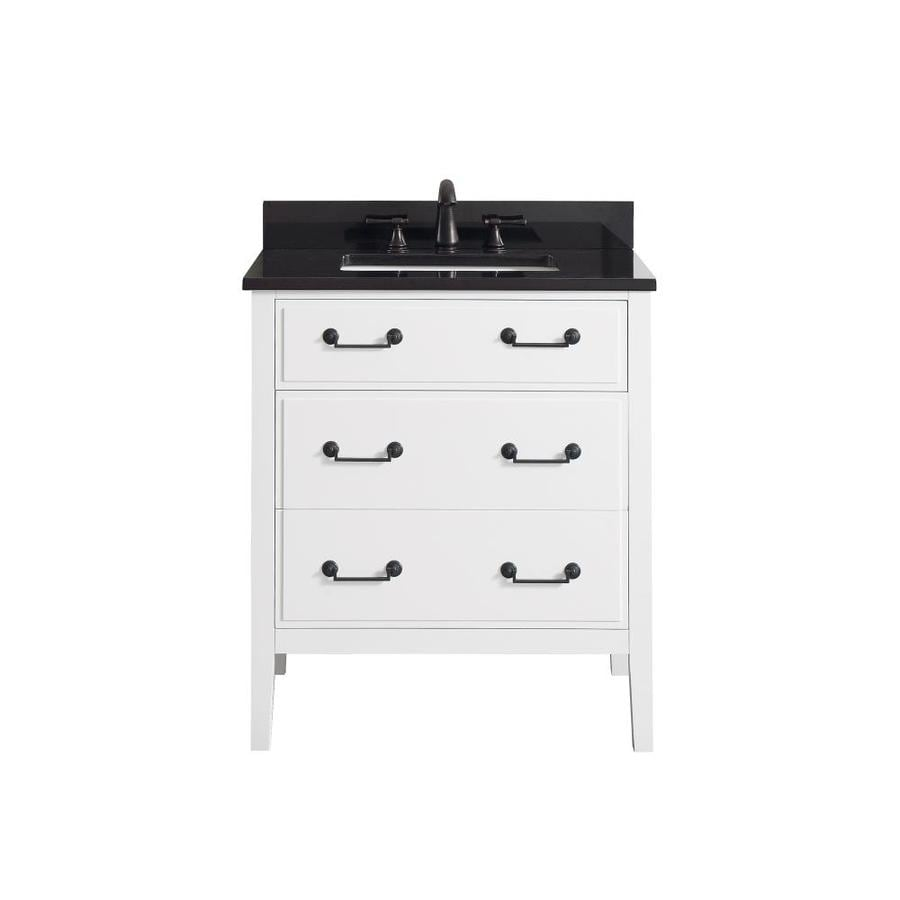 Avanity White 31-in Undermount Single Sink Poplar Bathroom Vanity with Granite Top
