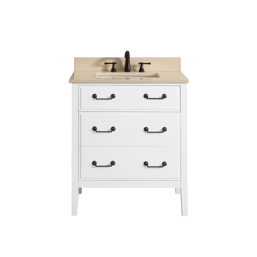 Avanity Delano White Undermount Single Sink Bathroom Vanity with Natural Marble Top (Common: 31-in x 22-in; Actual: 31-in x 22-in)