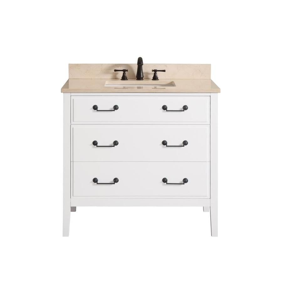 Avanity White 37-in Undermount Single Sink Poplar Bathroom Vanity with Natural Marble Top