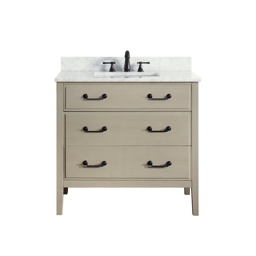 Avanity Delano Taupe Glaze Undermount Single Sink Bathroom Vanity with Natural Marble Top (Common: 37-in x 22-in; Actual: 37-in x 22-in)