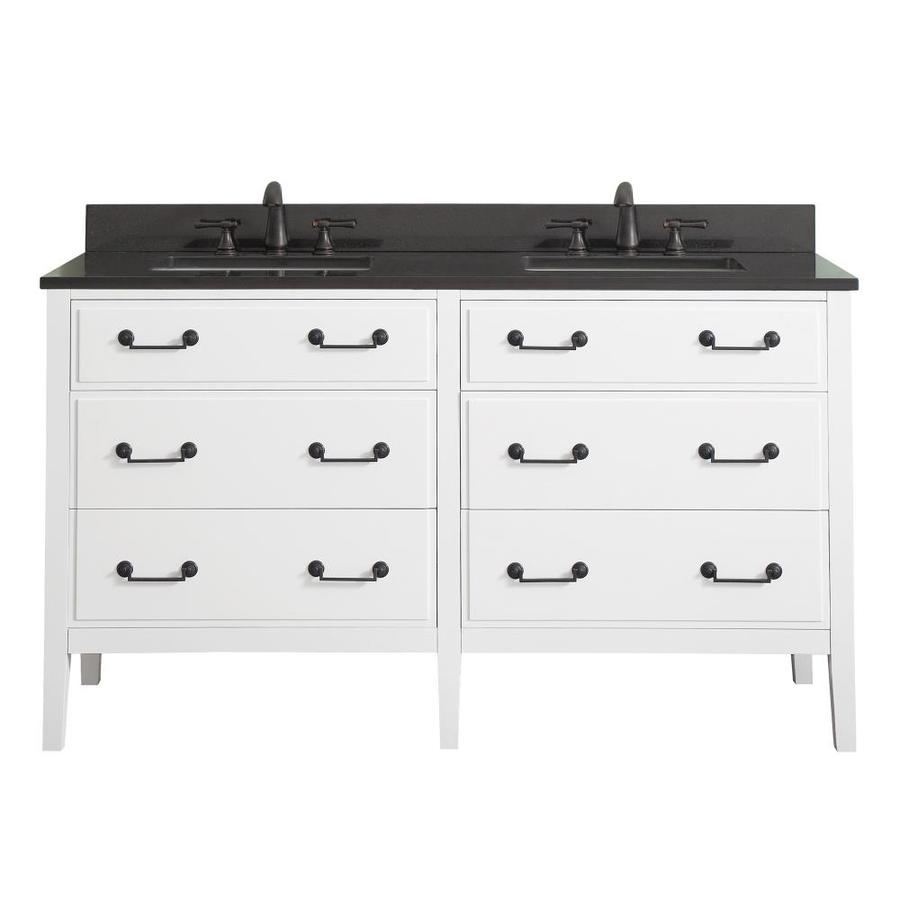 Avanity Delano White Undermount Double Sink Bathroom Vanity with Granite Top (Common: 61-in x 22-in; Actual: 61-in x 22-in)