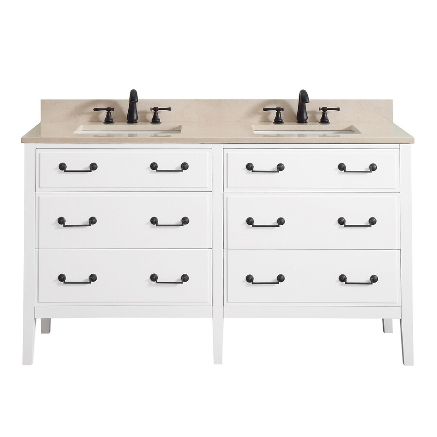 Avanity Delano White Undermount Double Sink Bathroom Vanity with Natural Marble Top (Common: 61-in x 22-in; Actual: 61-in x 22-in)