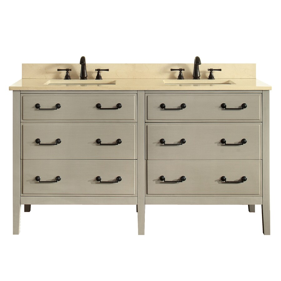 Avanity Taupe Glaze 61-in Undermount Double Sink Birch/Poplar Bathroom Vanity with Natural Marble Top