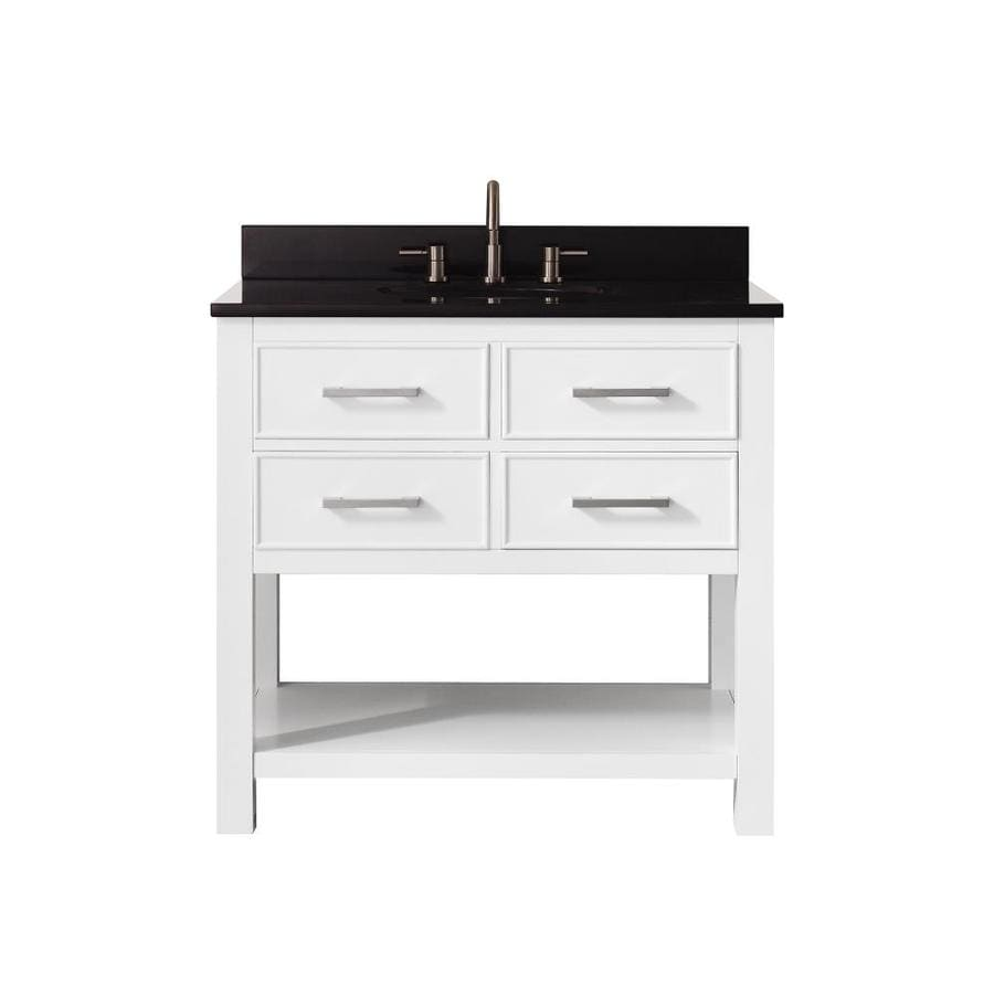 Avanity White 37-in Undermount Single Sink Poplar Bathroom Vanity with Granite Top