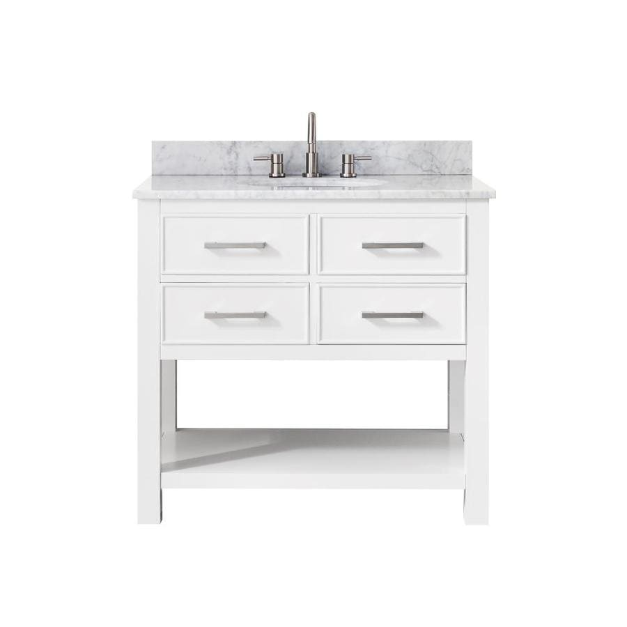 Avanity Brooks White Undermount Single Sink Bathroom Vanity with Natural Marble Top (Common: 37-in x 22-in; Actual: 37-in x 22-in)