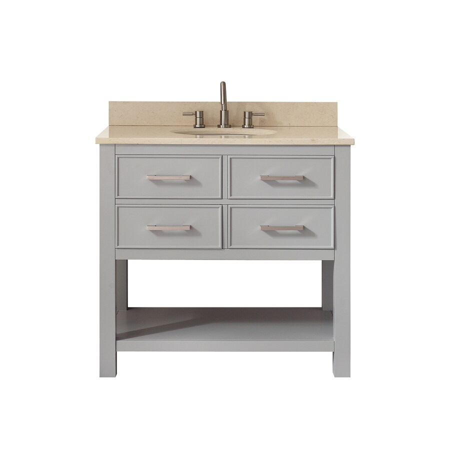 Avanity Chilled Gray (Common: 37-in x 22-in) Undermount Single Sink Poplar Bathroom Vanity with Natural Marble Top (Actual: 37-in x 22-in)