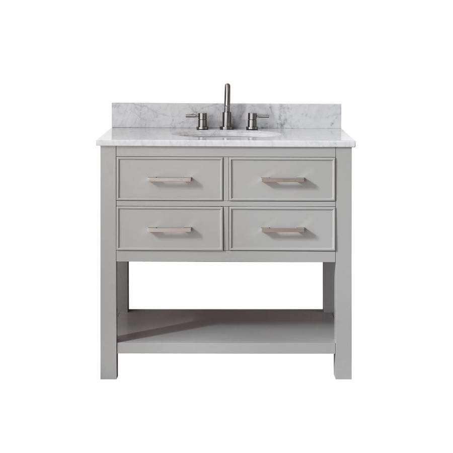 Avanity Brooks Chilled Gray Undermount Single Sink Bathroom Vanity with Natural Marble Top (Common: 37-in x 22-in; Actual: 37-in x 22-in)