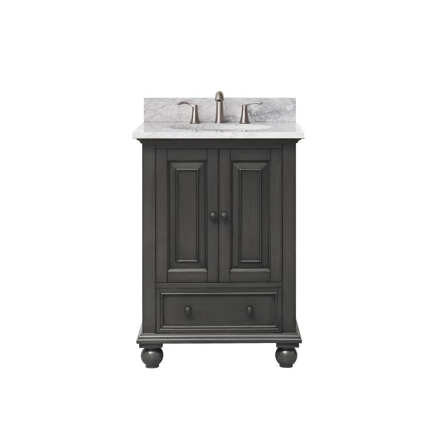 Avanity Charcoal Glaze 25-in Undermount Single Sink Poplar Bathroom Vanity with Natural Marble Top