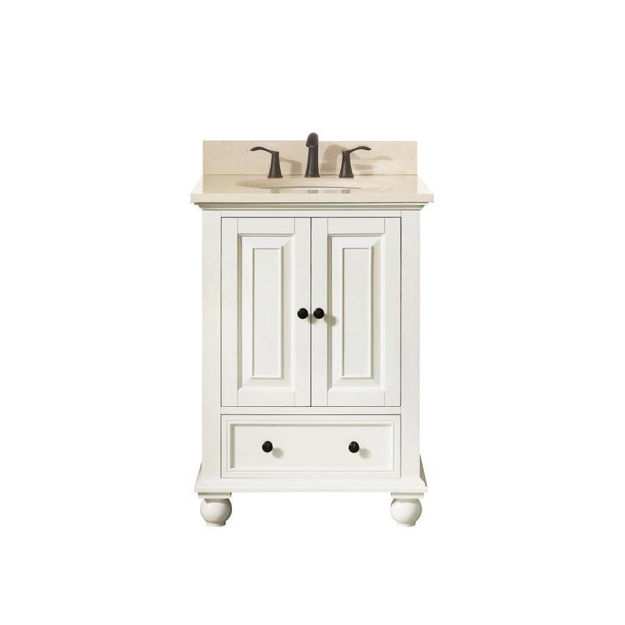 Avanity French White 25-in Undermount Single Sink Poplar Bathroom Vanity with Natural Marble Top