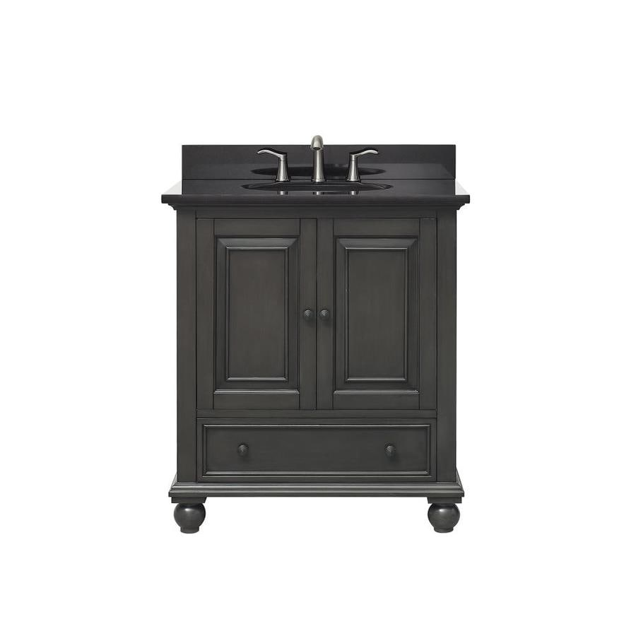 Avanity Thompson Charcoal Glaze Undermount Single Sink Bathroom Vanity with Granite Top (Common: 31-in x 22-in; Actual: 31-in x 22-in)