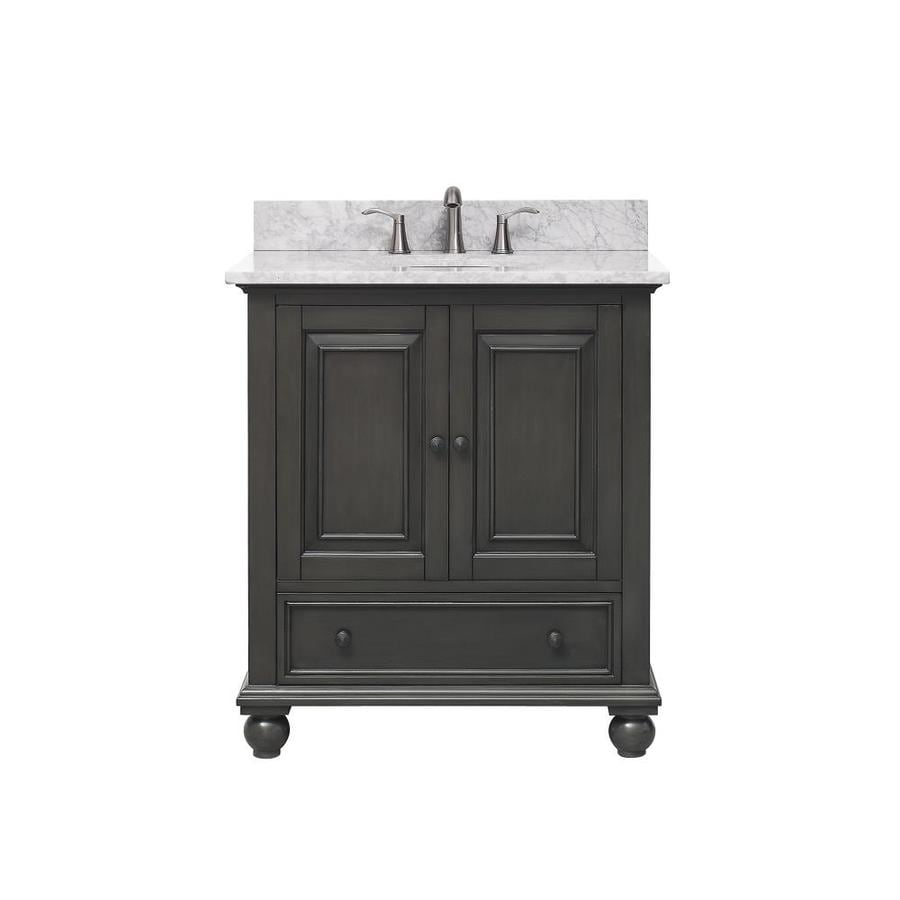 Avanity Charcoal Glaze 31-in Undermount Single Sink Poplar Bathroom Vanity with Natural Marble Top