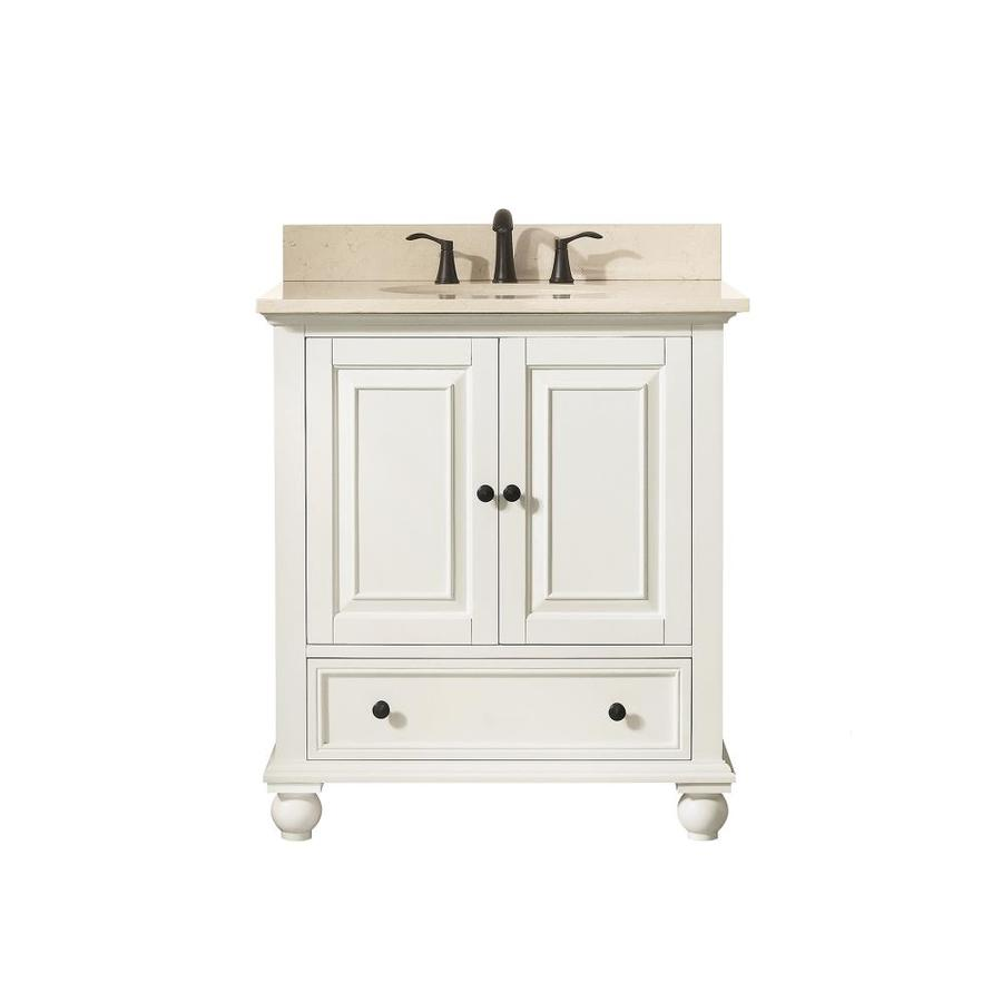 Avanity French White (Common: 31-in x 22-in) Undermount Single Sink Poplar Bathroom Vanity with Natural Marble Top (Actual: 31-in x 22-in)