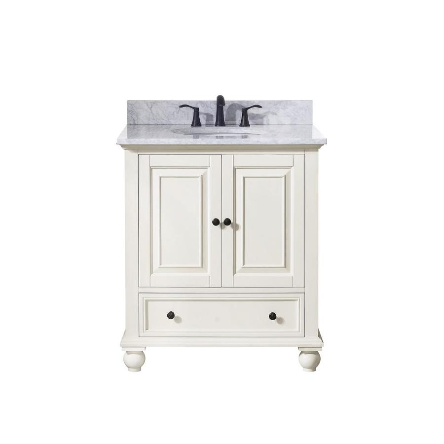 Avanity Thompson French White Undermount Single Sink Bathroom Vanity with Natural Marble Top (Common: 31-in x 22-in; Actual: 31-in x 22-in)