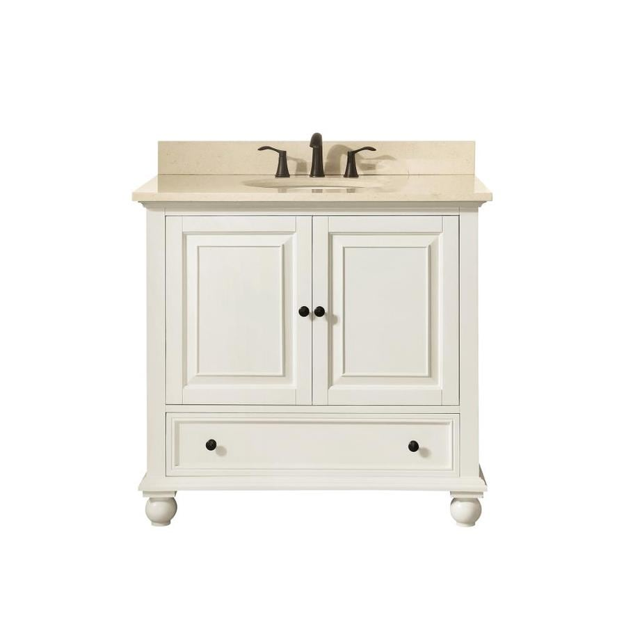 Avanity French White 37-in Undermount Single Sink Poplar Bathroom Vanity with Natural Marble Top