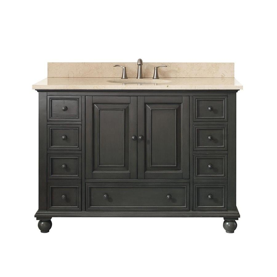 Avanity Charcoal Glaze 49-in Undermount Single Sink Poplar Bathroom Vanity with Natural Marble Top
