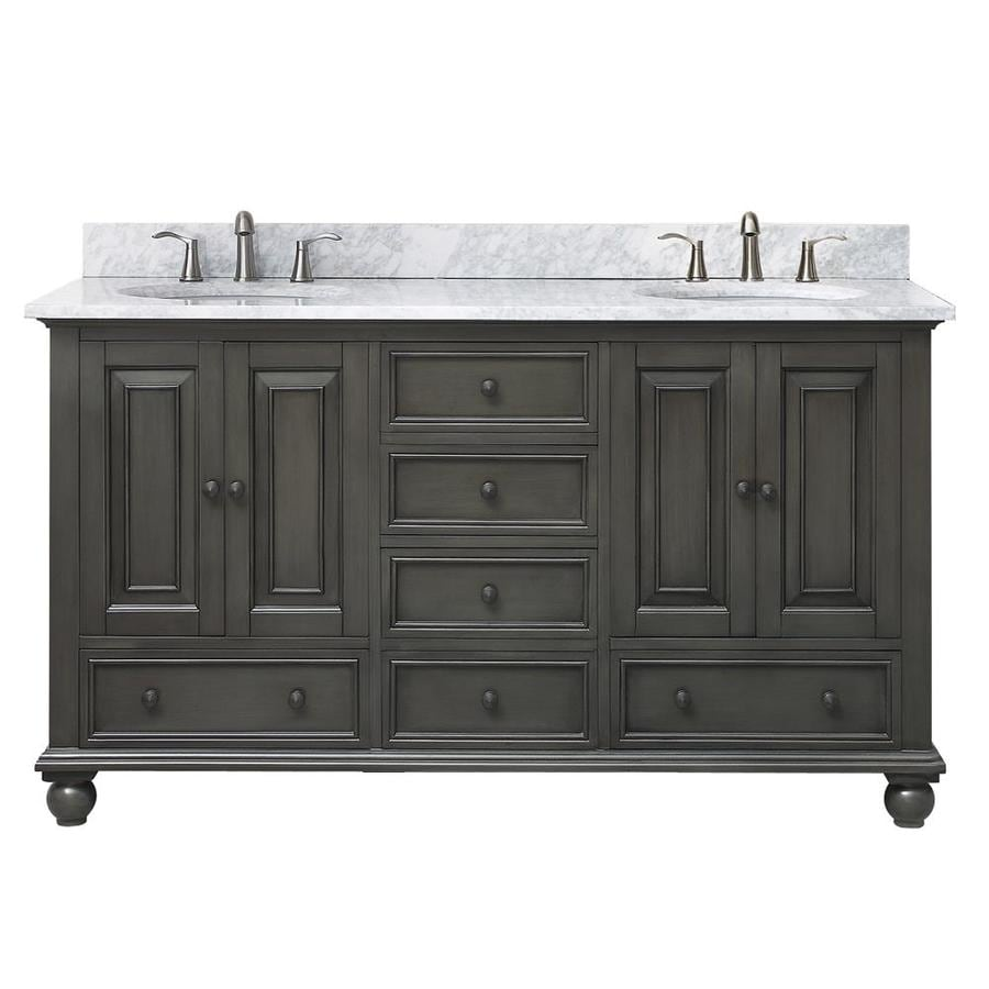 Avanity Charcoal Glaze 61-in Undermount Double Sink Poplar Bathroom Vanity with Natural Marble Top