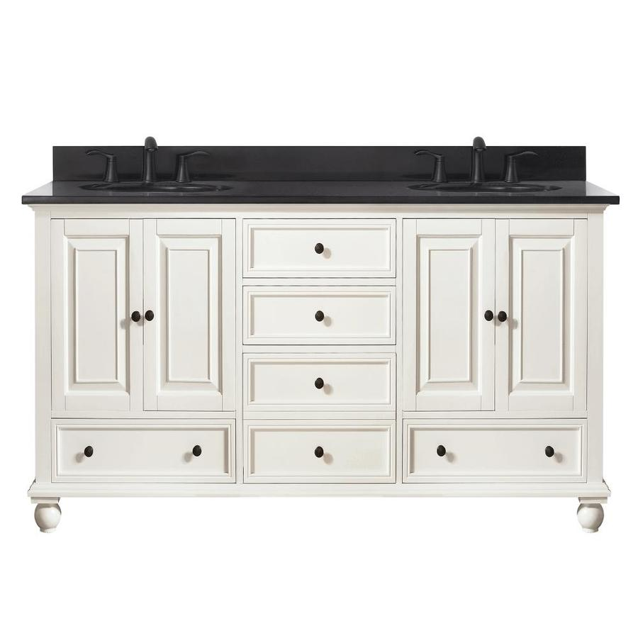 Avanity French White Undermount Double Sink Bathroom Vanity with Granite Top (Common: 61-in x 22-in; Actual: 61-in x 22-in)