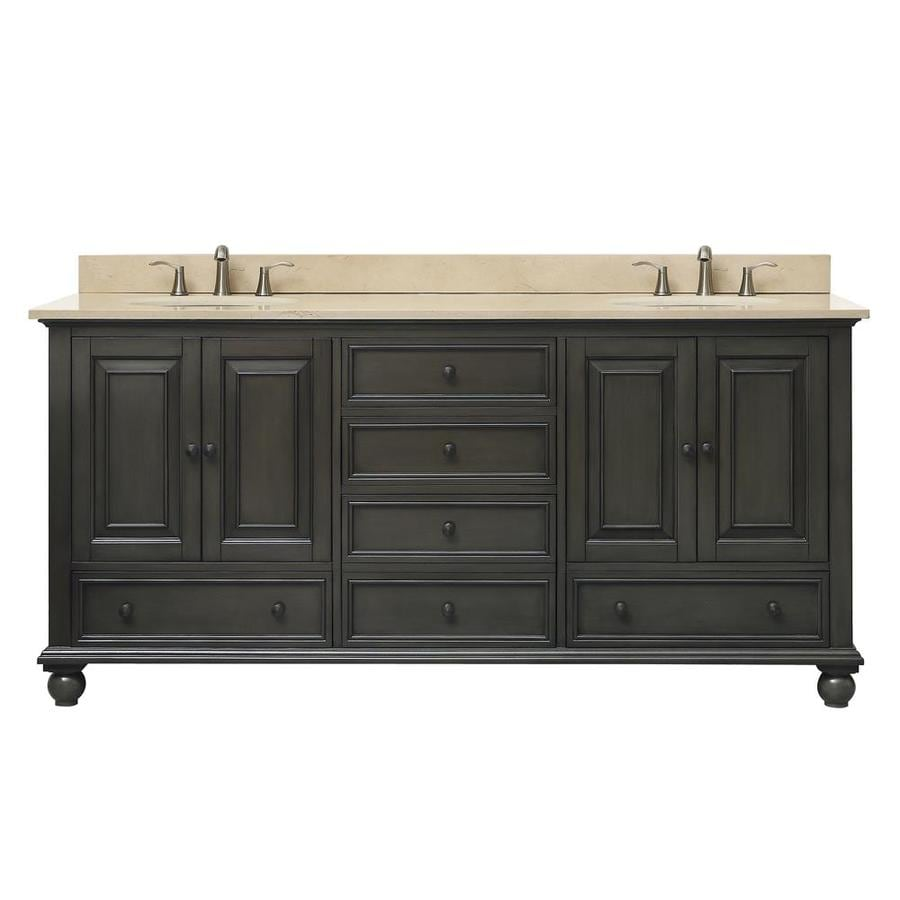 Avanity Charcoal Glaze (Common: 73-in x 22-in) Undermount Double Sink Poplar Bathroom Vanity with Natural Marble Top (Actual: 73-in x 73-in)