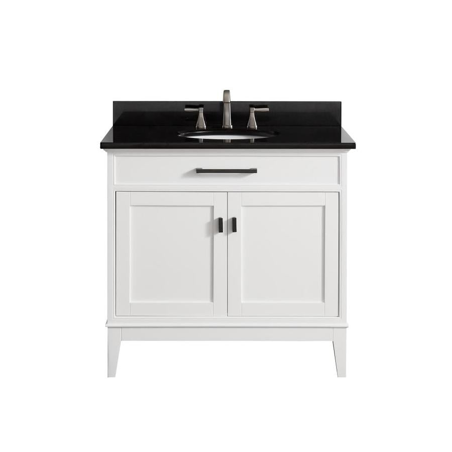 Avanity White 37-in Undermount Single Sink Birch/Poplar Bathroom Vanity with Granite Top