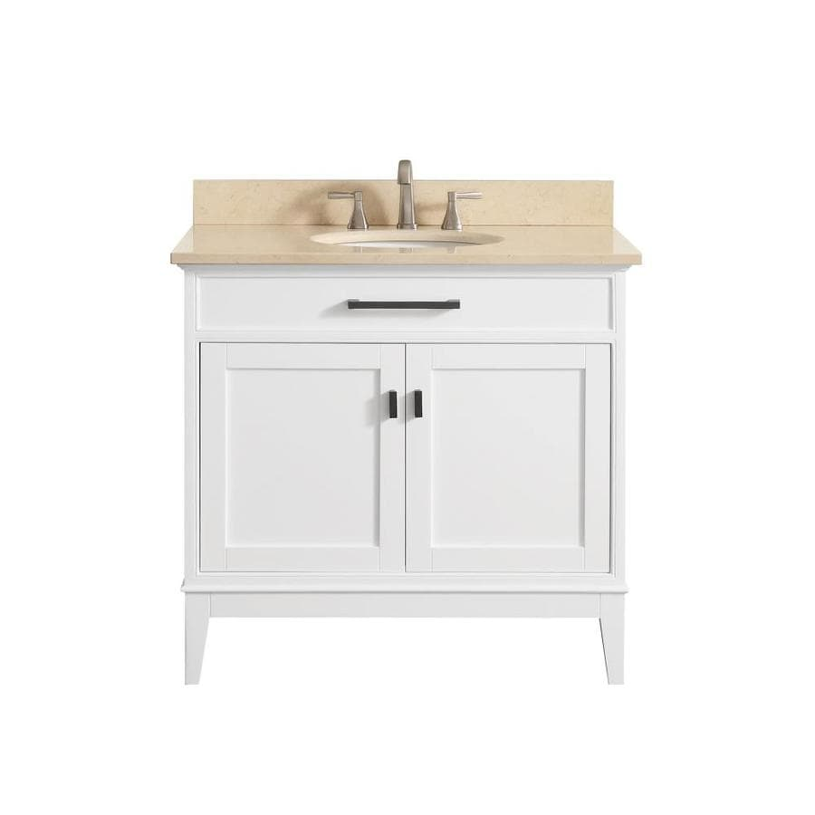Avanity Madison White Undermount Single Sink Bathroom Vanity with Natural Marble Top (Common: 37-in x 22-in; Actual: 37-in x 22-in)