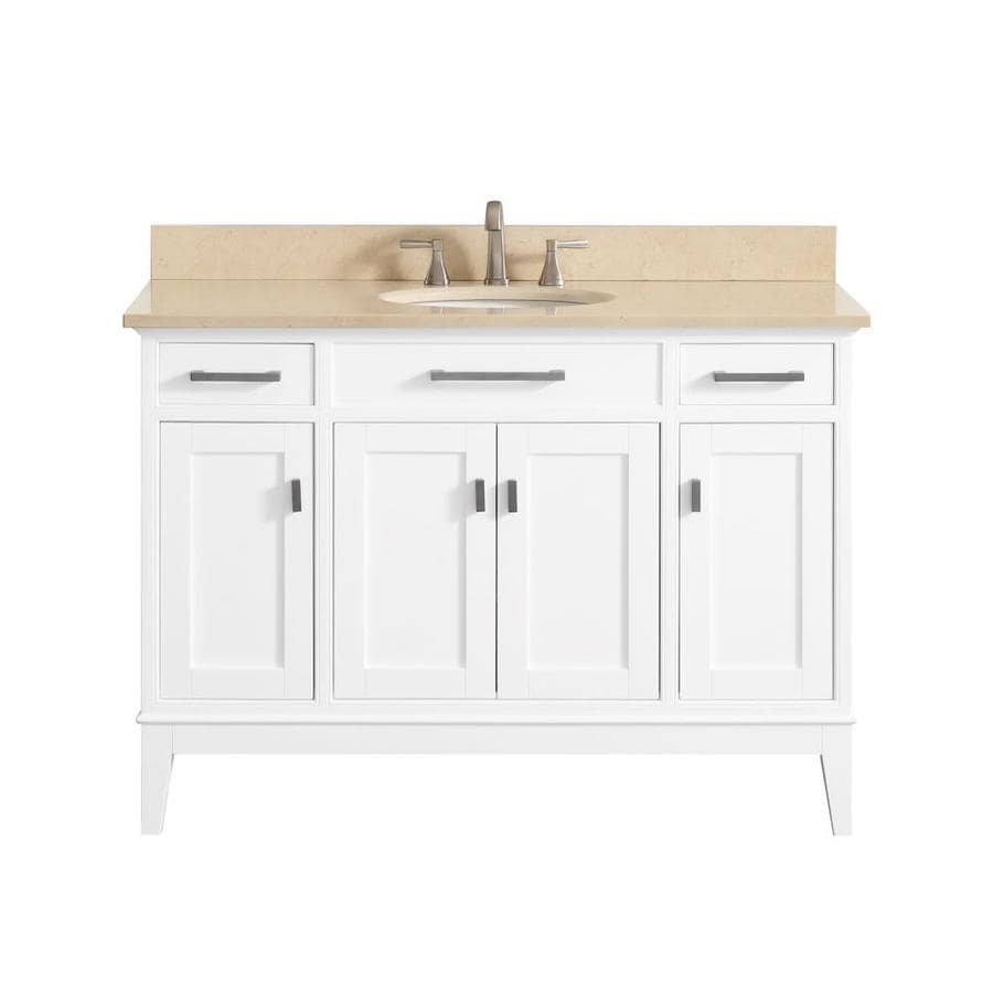 Avanity Madison White (Common: 49-in x 22-in) Undermount Single Sink Birch/Poplar Bathroom Vanity with Natural Marble Top (Actual: 49-in x 22-in)