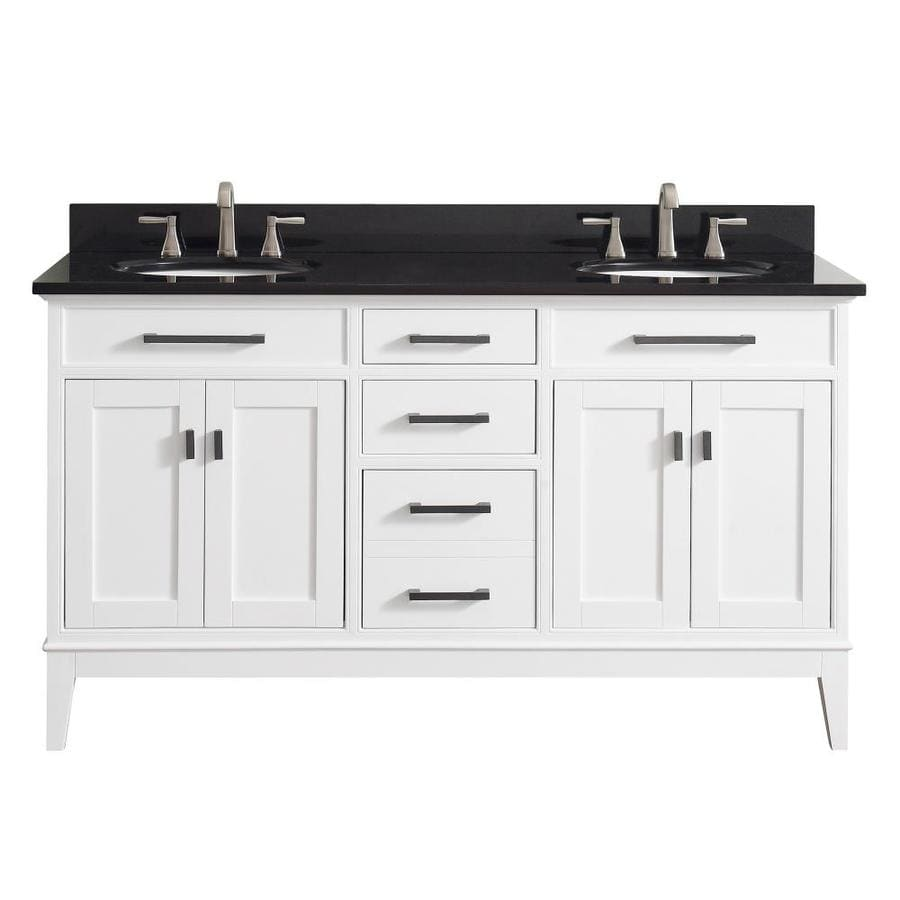 Avanity Madison White Undermount Double Sink Bathroom Vanity with Granite Top (Common: 61-in x 22-in; Actual: 61-in x 22-in)