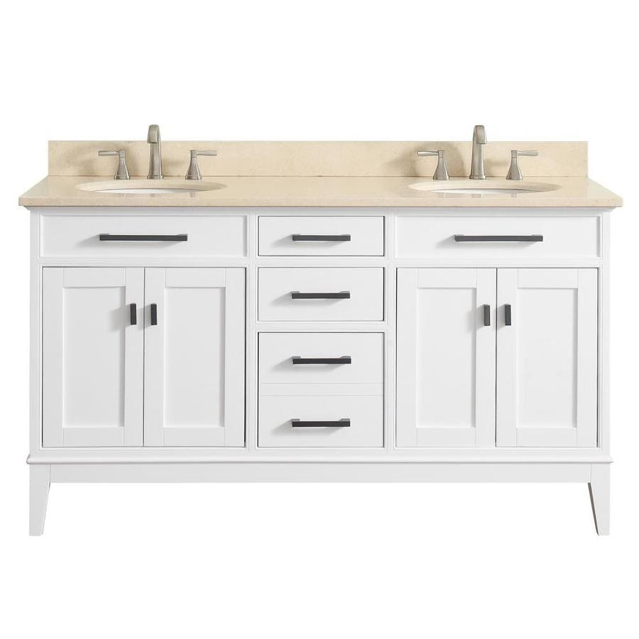 Avanity Madison White Undermount Double Sink Bathroom Vanity with Natural Marble Top (Common: 61-in x 22-in; Actual: 61-in x 22-in)