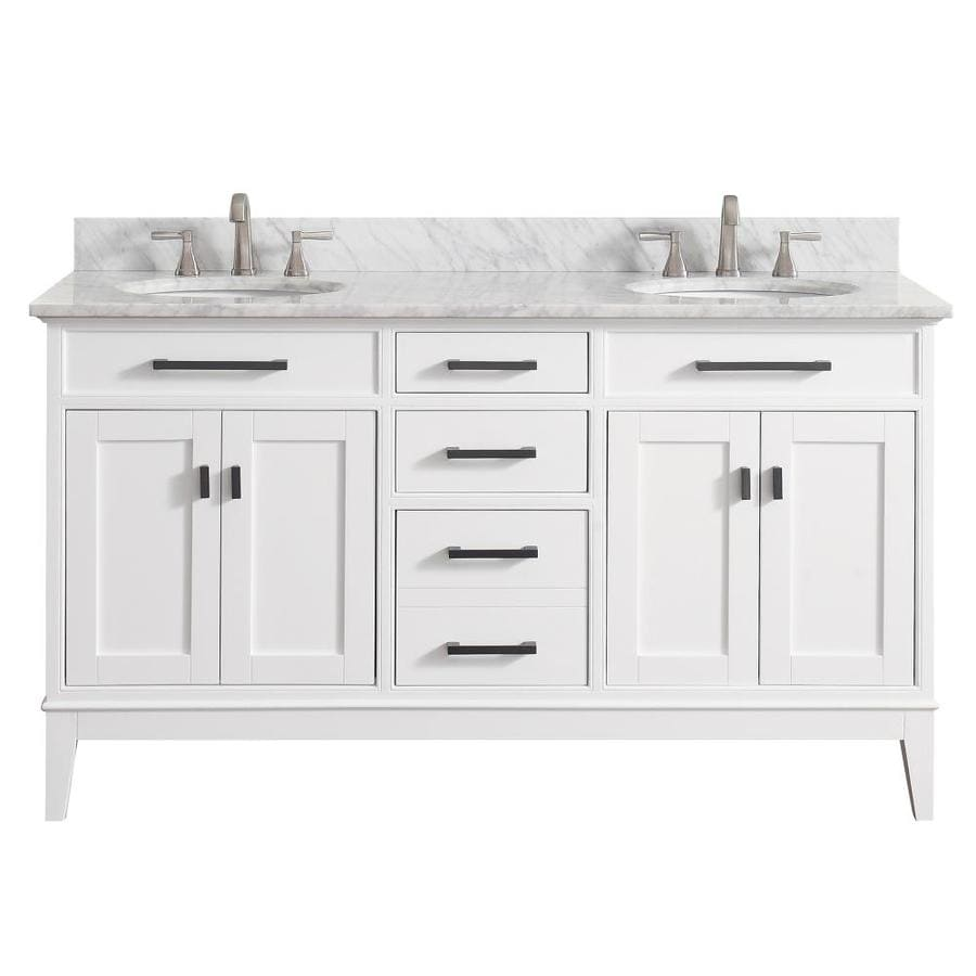 Avanity White 61-in Undermount Double Sink Birch/Poplar Bathroom Vanity with Natural Marble Top