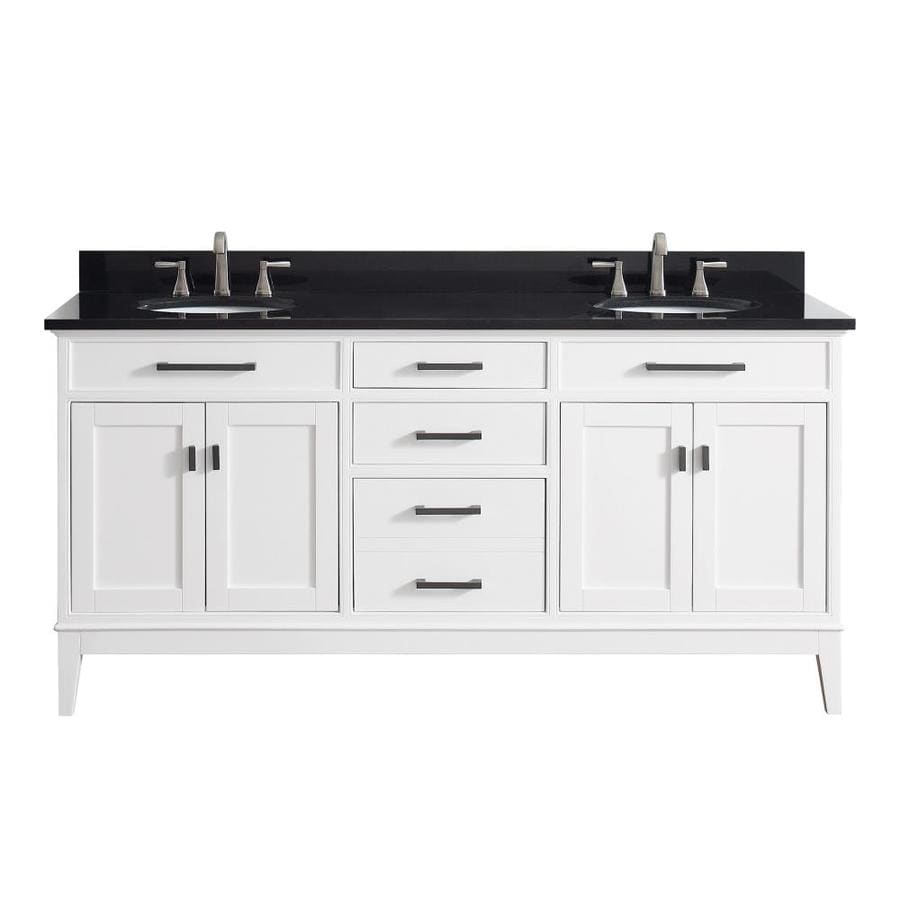 Avanity madison 73 in white double sink bathroom vanity - White bathroom vanity with black top ...