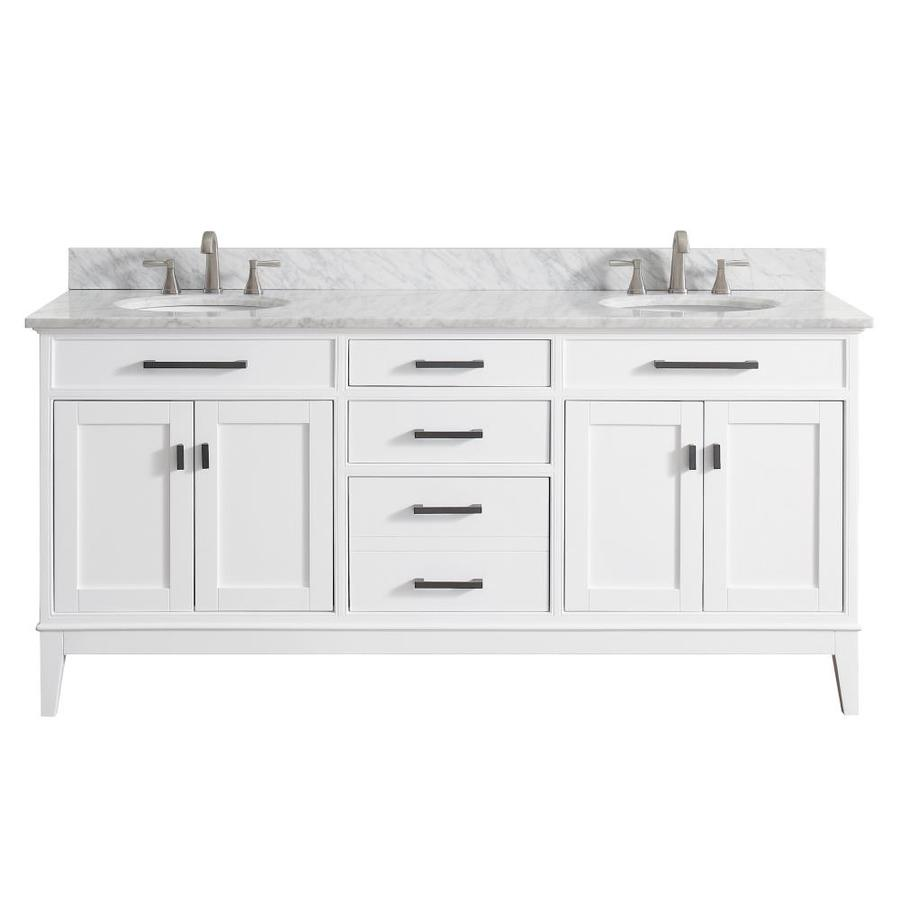 Avanity Madison White 73-in Undermount Double Sink Birch/Poplar Bathroom Vanity with Natural Marble Top