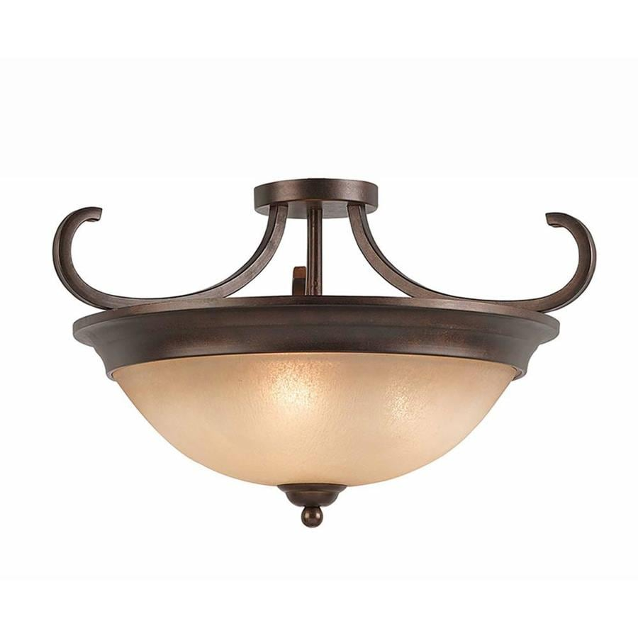 Raissa 20-in W Bronze Tea-stained Glass Semi-Flush Mount Light