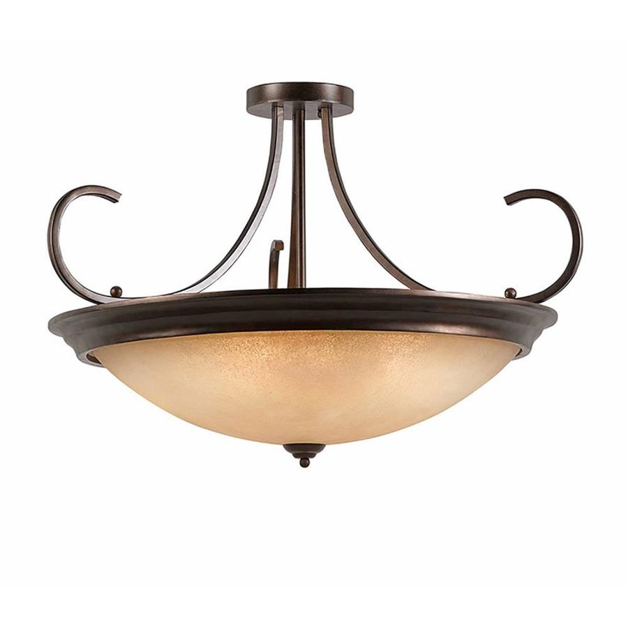 Raissa 38-in W Bronze Tea-stained Glass Semi-Flush Mount Light